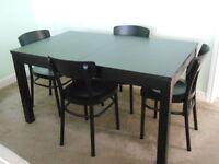 IKEA BJURSTA Extendable Brown-Black Dining Table & 6 IKEA IDOLF Black Chairs