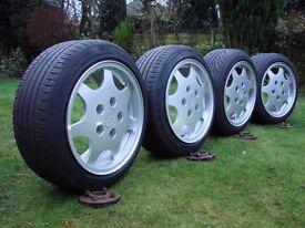 """Porsche D90 All 8"""" wide 195 50 16 tyres + adaptors"""