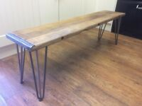Beautiful Rustic solid Beech Wood Bench with 3 prong Hairpin Legs - More available