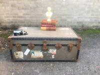 CUNARD ANTIQUE VINTAGE TRUNK CHEST FREE DELIVERY STORAGE BOX COFFEE TABLE