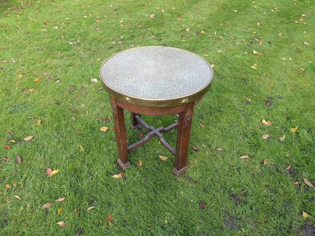 Brass top round Table with wooden base 60cmX65cm