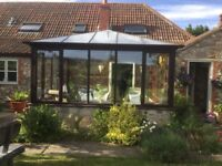 Hard wood conservatory, 12 glass windows, French doors, glass roof
