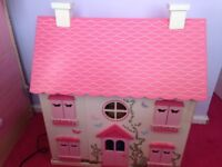 Large dolls house, furniture and dolls