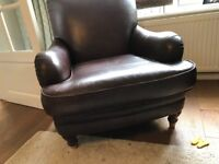Brown leather fireside armchairs x 2
