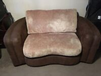 Chocolate suede leather and chenille 2 seater sofa