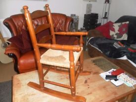 CHILDS WOODEN ROCKING CHAIR. EXCELLENT CONDITION.
