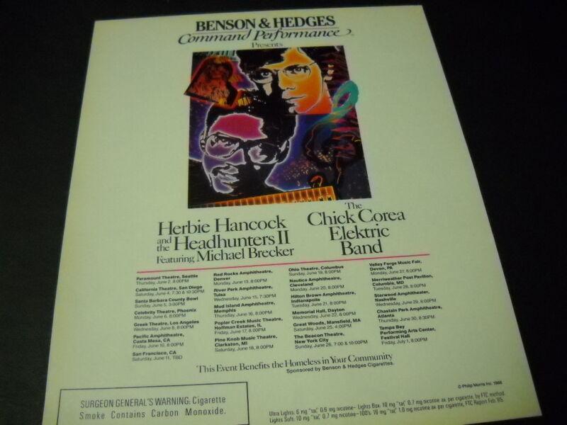 CHICK COREA & HERBIE HANCOCK June 2 - July 1, 1988 Tour Dates PROMO POSTER AD