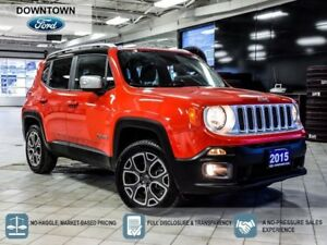 2015 Jeep Renegade Limited, LEATHER, 4X4, BACKUP CAMERA, BLUETOO