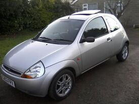 FORD KA 1-3. SPECIAL EDITION 2003 (53 PLATE). 78,000 MILES, FORD ALLOYS, ELECTRIC SLIDE/TILT SUNROOF