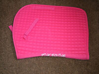 """Saddle Cloth - Pink with White """"Pink Equine"""" Text."""