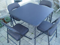 Folding Card/Game Table with four (4) padded Folding Chairs - 85cm x 85cm