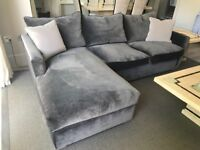 Sofa with chaise. Almost new and in new condition. Grey velvet. Bespoke.