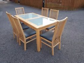 Harveys Solid Wood & Frosted Glass Dining Table & 6 Matching Chairs FREE DELIVERY 361