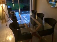 Habitat Dublin Glass Dining Table and 6 Valentina Chairs