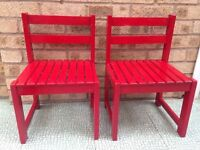 Red childrens chairs