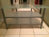TV & AV Stand in silver metal & frosted glass