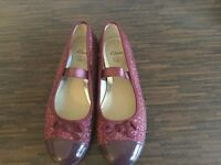 Clarks wine coloured party shoes - size 2F