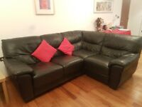 Immaculate Condition Corner Black Leather Sofa