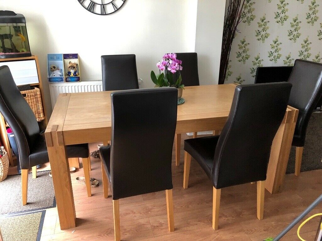 Solid Oak Large Dining Table With Six Leather Chairs Used Good Condition Smoke Free Home