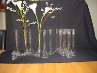 15 perfect wedding guests table vases 300mm high with solid 75mm dia base and 40 mm wide top