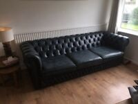 Blue leather chesterfield couches, 1 x 3 seater 1 x 2 seater, shabby chic