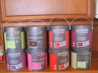Emulsion Paint (Matt and Silk) .Various colours . Brand new. 8 tins ,each 2.5L