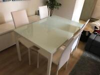 WHITE GLASS DINING TABLE AND 4 CHAIRS CAN DELIVER