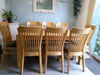 Table and 8 chairs, solid wood
