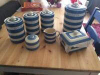 Cornishware pottery set