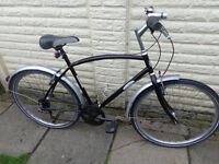 mens peugeot hybrid bike new lights, d-lock ready to ride can deliver