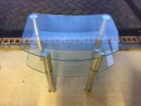 Glass and Aluminium TV Table