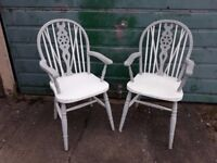 x2 vintage wheelback carver dining chairs shabby chic.