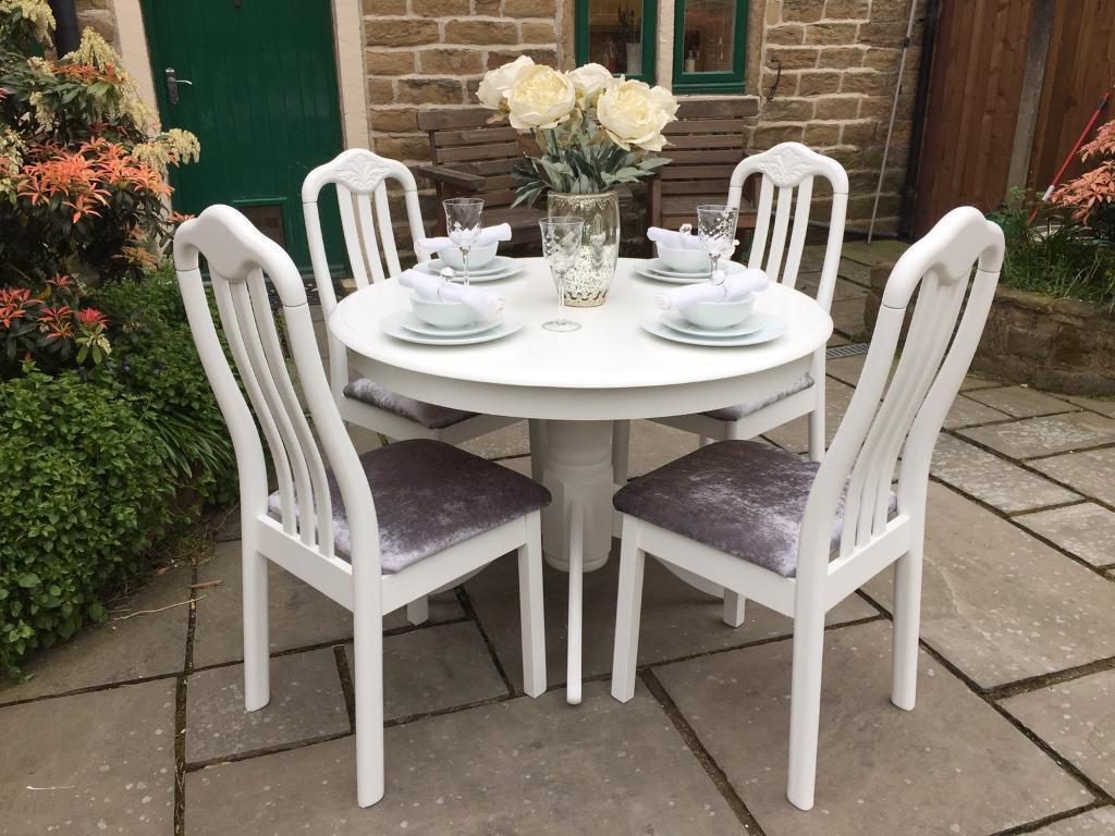 Vintage Round White Dining Table 4 Grey Crushed Velvet