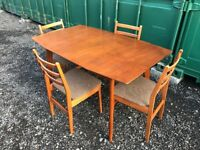 Vintage retro ExtendingTeak Dining Table and Four Chairs