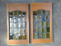 2 Vintage Stained Glass Window Panels (leaded) From 1908 Villa - 92cm x 48cm