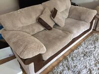 3 seat sofa settee - as new - beautiful mink colour fabric with brown brushed trim