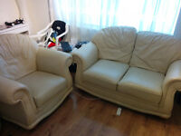 White Cream Leather Sofa and Chair