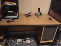 Small office desk with shelf/roller shutter front - light oak finish