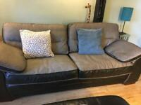 Scs leather/fabric 3 seater sofa and footstool