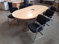 DARK OAK EGG SHAPE MEETING TABLE WITH POWER SOCKET AND 6 STACKING CHAIRS