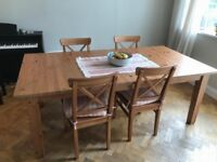 Large Beautiful Oak IKEA Dining Table with 4 Chairs