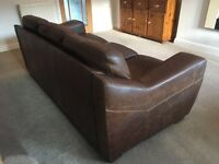 Brown Leather sofa 2seater & 3seater