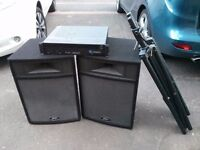 Peavey System with speakers, amp, and tripod stands