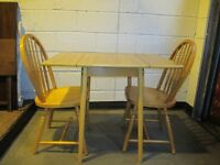 SMALL VINTAGE RETRO TEAK FORMICA TOP DROP LEAF DINING TABLE WITH TWO DINING CHAIRS FREE DELIVERY