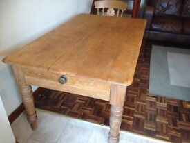 Antique pine table and chairs