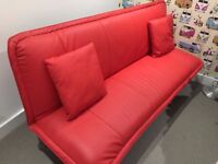 sofa bed red leather