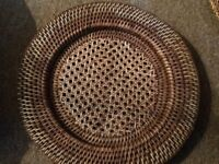 8 x wicker and French cane place mats