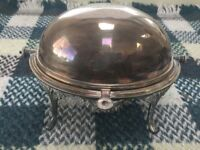 Antique Silver Plated Revolving Breakfast Dish Roll Over Dome Serve Keep Warm