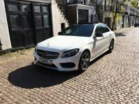 2014 MERCEDES C220 AMG WHITE WITH RED LEATHER INTERIOR PANORAMIC ROOF LIKE NEW C250 C350 330D 320D