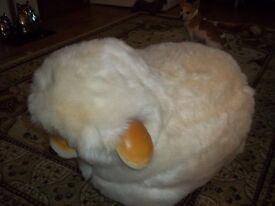 beautiful cream fur large lamb stool